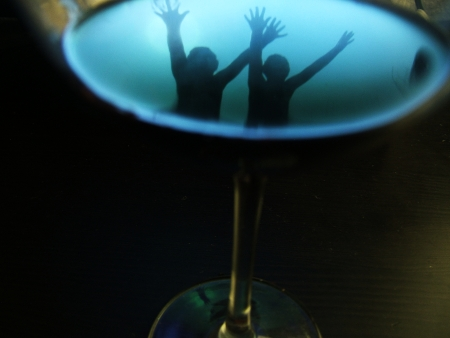 reflection in blue wine